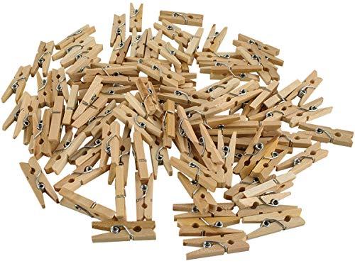 Iso Trade Mini Holzklammern Büroklammern 100Stk. Clips Bilder Collage Briefe Dekoration 6289
