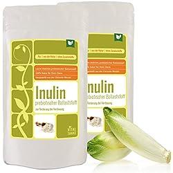 Inulin 2x500g – der ganz besondere prebiotischer Ballaststoff aus der Chicoree-Wurzel (Zichorie) Inulin kann die Darmflora positiv beeinflussen und den Knochen Gutes tun