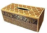 Funda para caja de pañuelos de trenzado de caña hecha con materiales sostenibles y ecológicos y un exquisito ribete de seda. (B Beige)