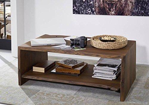 Table basse 120x70cm - Bois massif d'acacia laqué (Brun classique) - Design naturel - LIVE EDGE #008