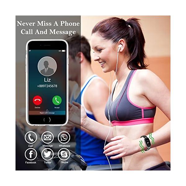 Pulsera Monitor de Actividad Pulsómetro y Podómetro para Mujeres Impermeable IP67, con Bluetooth Contador de Pasos y Monitor de Sueño para Smartphones con Android e iOS: iPhone, Samsung de WOWGO 4