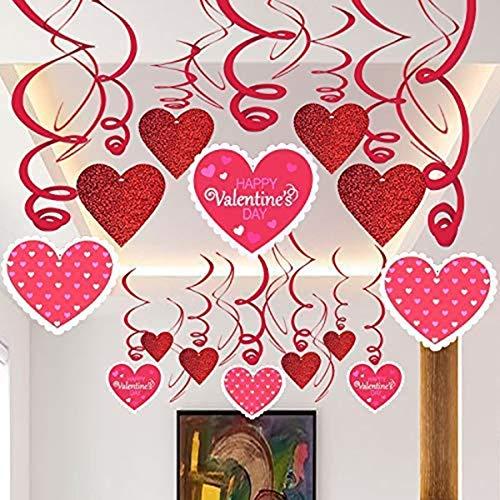 Jinxuny Valentinstag Dekoration Herz hängenden Swirl Decke Dekor Party Ornament Supplies / 30pcs (Style : 02#)
