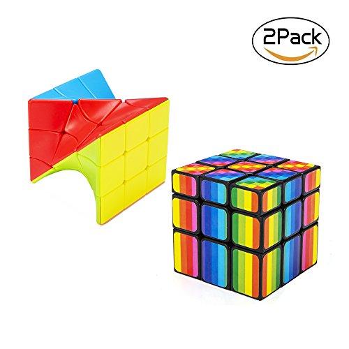 BFULL Set Spielewürfel, Unregelmäßig 3x3 Regenbogen- Zauberwürfel + Drehwürfel, Schönes Geschenk für Alle Altersgruppen, Schöne, kurvenreiche Rätsel für Professionelle Speedcubers