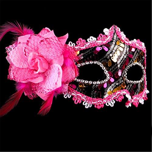 letten Make-up Tanz Show Gemalte Federn Halbes Gesicht Schöne Prinzessin Masken,Rose Red (Red Skull Halloween-make-up)