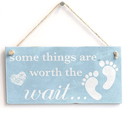 ind Worth The Wait Baby Boy-Vintage PVC Schild/Plakette 25,4x 12,7cm ()