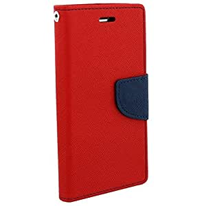 J.N Mercury Fancy Diary Card Wallet Flip Case Back Cover For Micromax Canvas-A093 Red