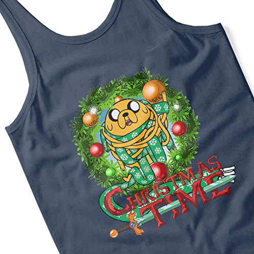 Adventure Christmas Time Wreath Jake Scarf Cartoon Network Women's Vest Navy blue