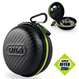 #9: Gizga Essentials Earphone Case - Multi Purpose Pocket Storage Travel Organizer Case for Earphone, Pen Drives, Memory Card, Data Cable - Carbon Fibre (Black/Green)