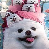 DOTBUY Bettbezug Set, 4 Teilig Bettwäsche 220 x 240cm 100% Polyester Mikrofaser Mode Gemütlich Printing Bettbezug-Set (Weißer Hund)