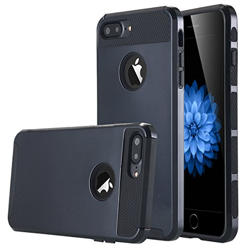 iPhone 7Plus, iPhone 7Plus Case, lontect Dual Layer Hybrid Custodia protettiva rigida posteriore PC + TPU morbida antiurto Borsa Case Cover Per Apple Iphone 7Plus 5,5pollici nero