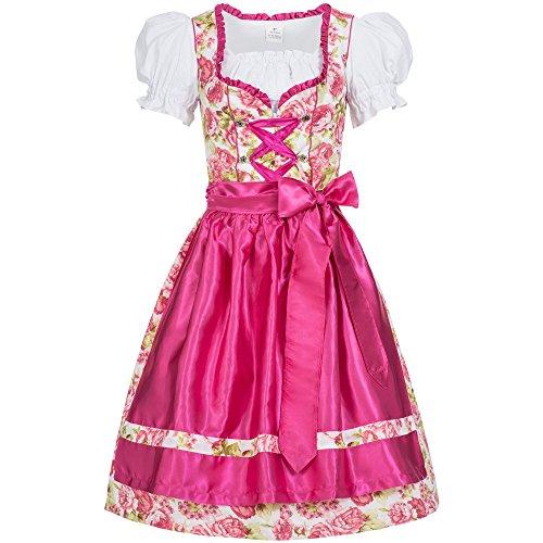 Gaudi-Leathers Dirndl Set 3 TLG. Mimi Blumendruck Bluse + Schürze pink 38