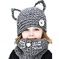 HANERDUN Unisex Winter Warm Knitted Scarf Hat Set Soft Thick Beanie Hat Cute Earflap Hat Scarf Set for Kids