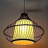 WSXX Deckenlampe, LED-Kronleuchter Hand Gewebte Beleuchtung Garten Bambus und Rattan Creative Restaurant Wohnzimmer Schlafzimmer Lampe 46 * 36Cm
