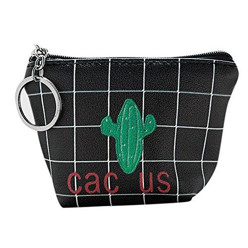 TEBAISE Frauen Geldbörse Mode Kaktus Muster Reißverschluss Münzen Beutel kleine Mappe Makeup Tasche Schlüssel beutel Mini Geldbeutel Täschchen Schlüsseltasche Leinwand