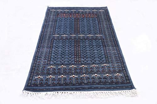 Pink City Souvenirs Handgeknüpfter indischer traditioneller Teppich 3 x 5 Fuß (90x150 cm) Indigoblau/Mithy Wolle Parda Design