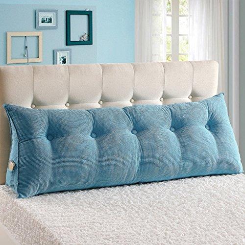 MMM- Coussin de chevet oreiller lit double canapé triangulaire étui souple dossier ceinture ( Couleur : Bleu , taille : 100*25*50cm )
