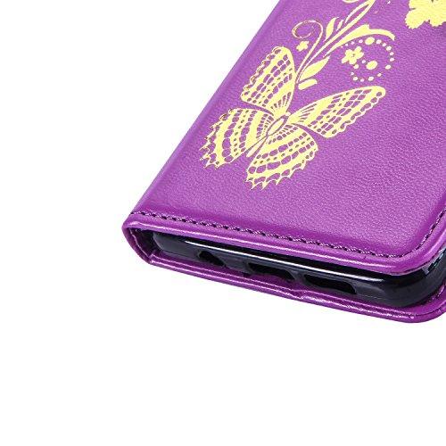 Coque pour iPhone 7 (4,7 zoll),Housse en cuir pour iPhone 7 (4,7 zoll),Ecoway Bronzante Papillon Fleur imprimé étui en cuir PU Cuir Flip Magnétique Portefeuille Etui Housse de Protection Coque Étui Ca pourpre Bronzante