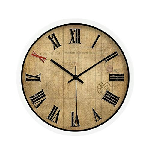 WENYAO SZQ Bar Wanduhr, Billard Hall Toy Store KleidungStore The Mall Coffee Shop Wohnzimmer Schlafzimmer Teestube Wanduhr Metall Wanduhr 30-40 cm Genau (Farbe: Weiß, Größe: 40 * 40 cm)