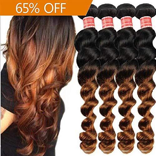 Richair 4Brasilianische Haarsträhnen, Haarverlängerung, gewellt, Echthaar von Jungfrauen, 1B/30, 50g / Strähne