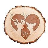 Baumscheibe mit Gravur – personalisiert mit [INITIALEN] und [DATUM] – als Türschild, Wandschild, Dekoration, Hochzeitsgeschenk, Liebesgeschenk, Geburtstagsgeschenk oder zum Valentinstag – Motiv Rehe