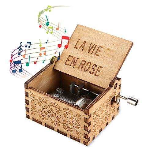 Womdee Music Box Tema La Vie En Rose, Manivela Artesanía De Madera con Caja De Música Clásica, Mecanismo De 18 Notas Caja De Música Antigua Tallada Regalos para Niños/Amigos/Adultos