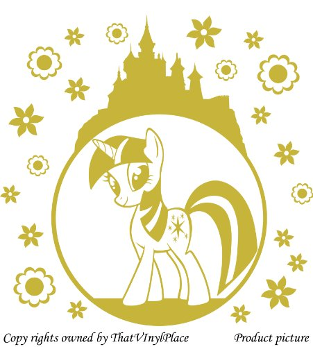 Preisvergleich Produktbild My Little Pony-Sticker, bubble, Schloss, Blumen, Sterne, 60 x 60 cm cm, Farbe Gold Disney metallisch, Kinderzimmer, Pferd, Kind-Raum-Aufkleber Auto Vinyl Aufkleber, Wand, Fenster und Wand Windows-Art ThatVinylPlace Wandtattoo,