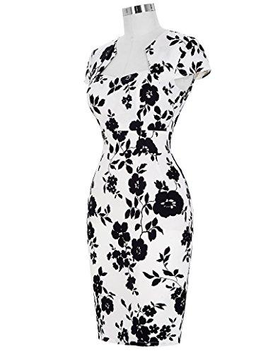 GRACE KARIN 50s Vintage Retro Rockabilly Kleid damen festliche kleider bleistiftkleid baumwolle pencil kleid Blumen(CL7597-10)