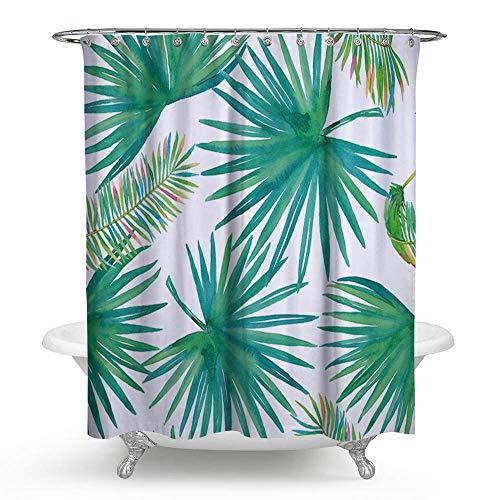 kisy Wasserdicht schimmelt nicht Dusche Badewanne Vorhang grün Tropical Palm Blätter Polyester Duschvorhang (180cm × 180cm) - Aqua-blatt-satz