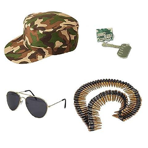 Army Kit - Hat, Sunglasses, Bullet Belt & Dog Tags Unisex Fancy Dress by Blue Planet Online