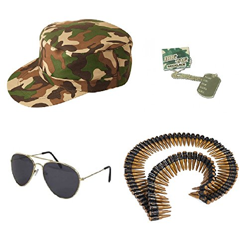 Armee-Kit–Hut, Sonnenbrille, Patronengürtel & Erkennungsmarke, Unisex, tolles Kostüm