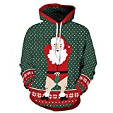 Leapparel Weihnachts-Kapuzenpulli Unisex-Weihnachtsmann-Kurzschlüsse 3D Grafikdesign-hässliches Weihnachten Kapuzenpulli Pullover für Jungen und Mädchen