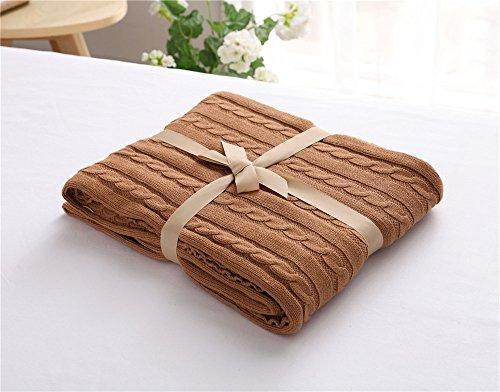 MQZM-In maglia di cotone coperta coperte di lana, aria condizionata Divano coperta baby coperta di cotone,luce caffè,120*180cm