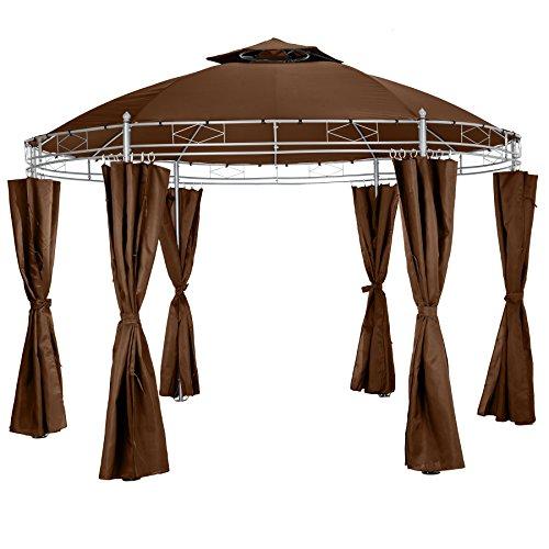 TecTake Luxus Pavillon Gartenpavillon Partyzelt Eventpavillon rund Ø 350cm   inkl. Seitenteile und Befestigungsmaterial   braun
