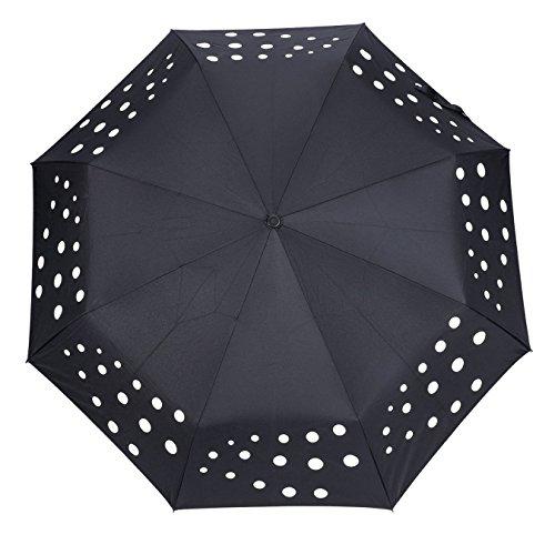 Parapluie Pliable Automatique De Couleur Magique ,OMOTON Parapluie De Voyage Incassable Solide, Cadeau Idéal, Coupe-Vent En Fibre De Verre Avec 8 Baleines Pour Femmes Et Hommes