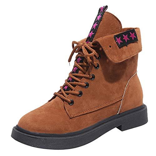 MYMYG Damen Chelsea Boots Frauen quadratische Fersenschuhe Martain-Stiefel Wildleder halten warme Runde Zehe Schnürschuhe Runde Zehe Lace-Up Kurzschaft Ankle Boots