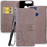 Slynmax Ledertasche Schutzhülle für Huawei Honor 8 Pro 5,7 Zoll/Honor V9 Stand Hülle Wallet Flip Case Lanyard Strap Klapphülle Rückseite Brieftasche Stand Magnet Magnetverschluss (Grau)