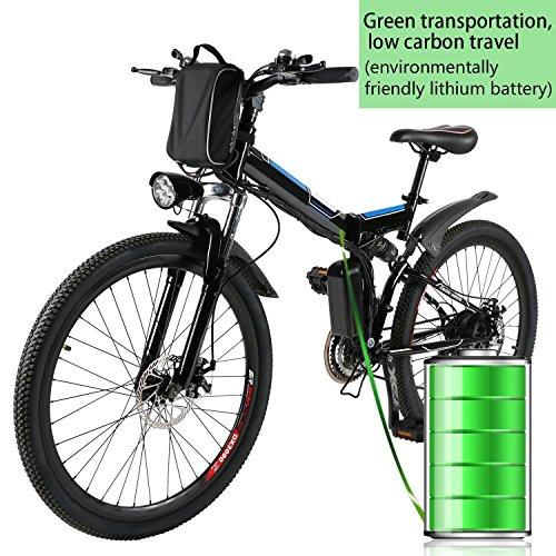 Beautytalk Elektrofahrrad E-Mountainbike Klapprad Alu City E-Bike 26 Zoll Cityräder Farrad 36V 8AH Lithium-Ionen-Akku Mountainbike(DE Lager) … (Schwarz)*