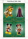 Disney miniatura menta foglio di francobolli Classic con Thumper, Topolino e Minnie Mouse e la Regina Cattiva di Biancaneve / 4 francobolli / 2014 / Ciad / 1000F