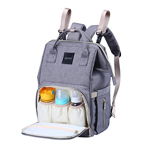 Baby Changing Bag,Rucksack Changing Bag,Baby Bag,Nappy Bag, Multi-Function,Waterproof,Large Diaper Bag with Insulated Pocket for Mom&Dad,Gray
