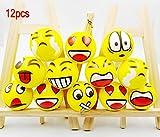 JZK 12 Morbida pallina antistress spugna emoticon palla Emoji sorriso piccola giocattolo riabilitazione gioco bomboniera regalino compleanno bambini (Emoji) immagine