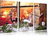 Pixxprint weihnachtlich dekoriertes Fensterbrett Kunst Buntstift Effekt 3-Teiler Leinwandbild 120x80 Bild auf Leinwand