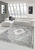 Designer und Moderner Teppich Kurzflor Teppich Orient in Grau Silber Beige Größe 80 x 300 cm