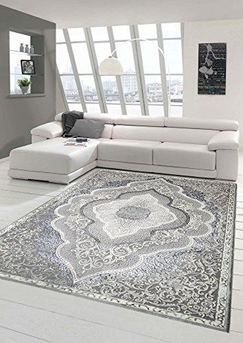 Designer und Moderner Teppich Kurzflor Teppich Orient in Grau Silber Beige Größe 120x170 cm