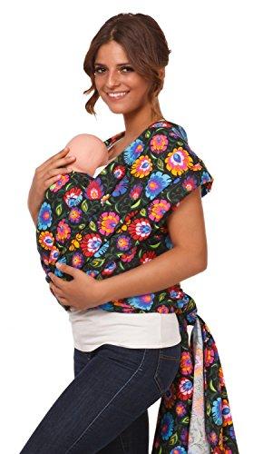 Happy Mama. Femme bébé écharpe de portage maternité discret allaitement. 111p Noir Fleurs
