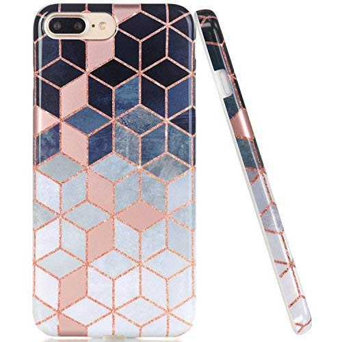 JAHOLAN iPhone 7 Plus Hülle Handyhülle TPU Silikon Weiche Schlank Schutzhülle Handytasche Flexibel Case Handy Hülle für iPhone 7 Plus/8 Plus/6S 6 Plus - Marmor Shiny Rose Gold Gradient Cube