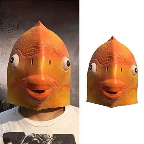 (Karpfen Halloween Maske Latex Kopf Maske lustig Kunststoff Kostüm Maske cosplay Tier voller Gesichtsmaske für Karneval Festival Party von yunhigh)