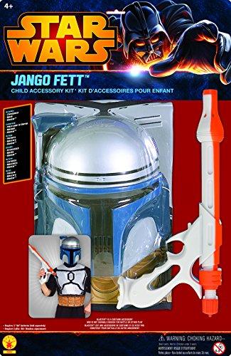 o Fett Blister Kit Kostüm Mandalorianer Kopfgeldjäger Blaster Galaktischen Republik Mandalor Gr. 110 / 116 (Jango Fett Kostüm Für Kinder)