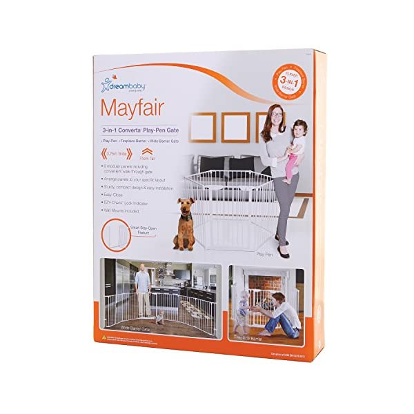 Dreambaby Mayfair Converta 3-in-1 Metal Play-Pen (85.5 - 375 cm) Dreambaby 6 modular panels including convient walk-through Gate 3-in-1 (play-pen, fireplace barrier, wide barrier Gate) Smart stey-open feature and optional one way stopper 7