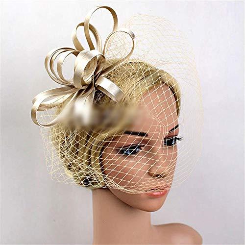 UZZHANG Mesh Braut Tiara Haarspange/Stirnband Hut Feder Retro kleinen Zylinder (Farbe : Champagner) (Braut Champagner Kopfstück)