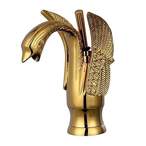 MEIBATH Badezimmer Waschbecken Mischbatterien Swan Design Einlochmontage Einhebel Vanity Sink Mischbatterie Gold Poliert Wasserhahn Badarmatur Waschtischarmaturen